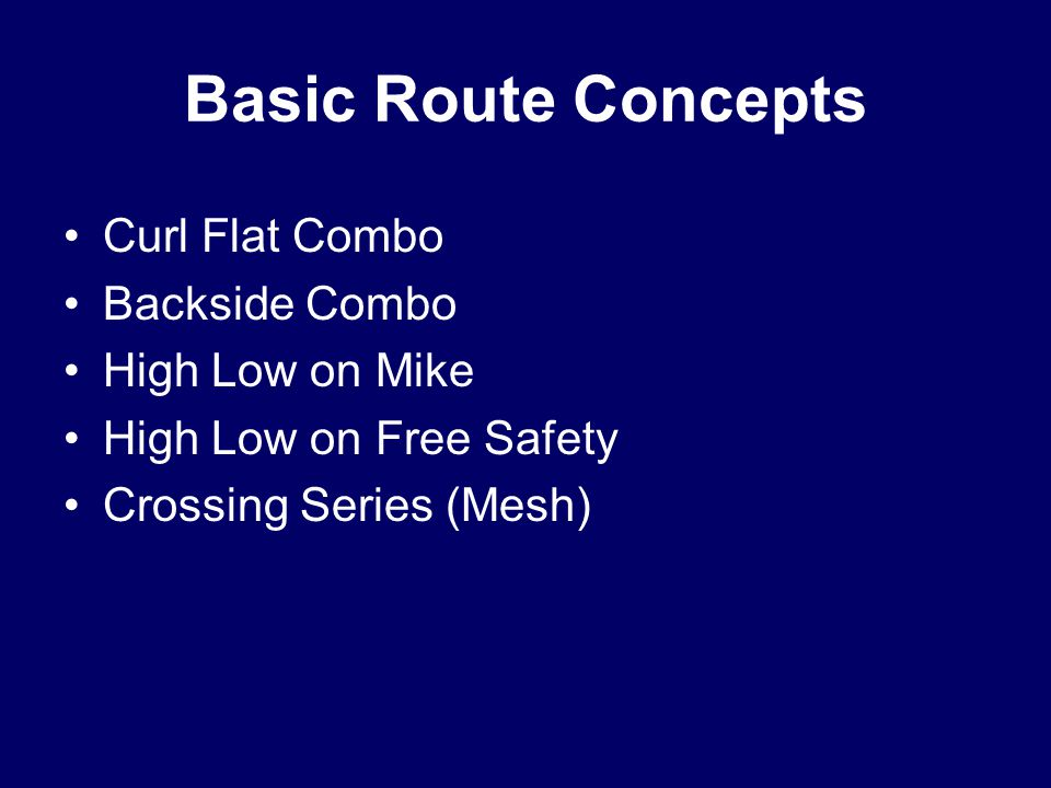 Basic Route Concepts Curl Flat Combo Backside Combo High Low on Mike