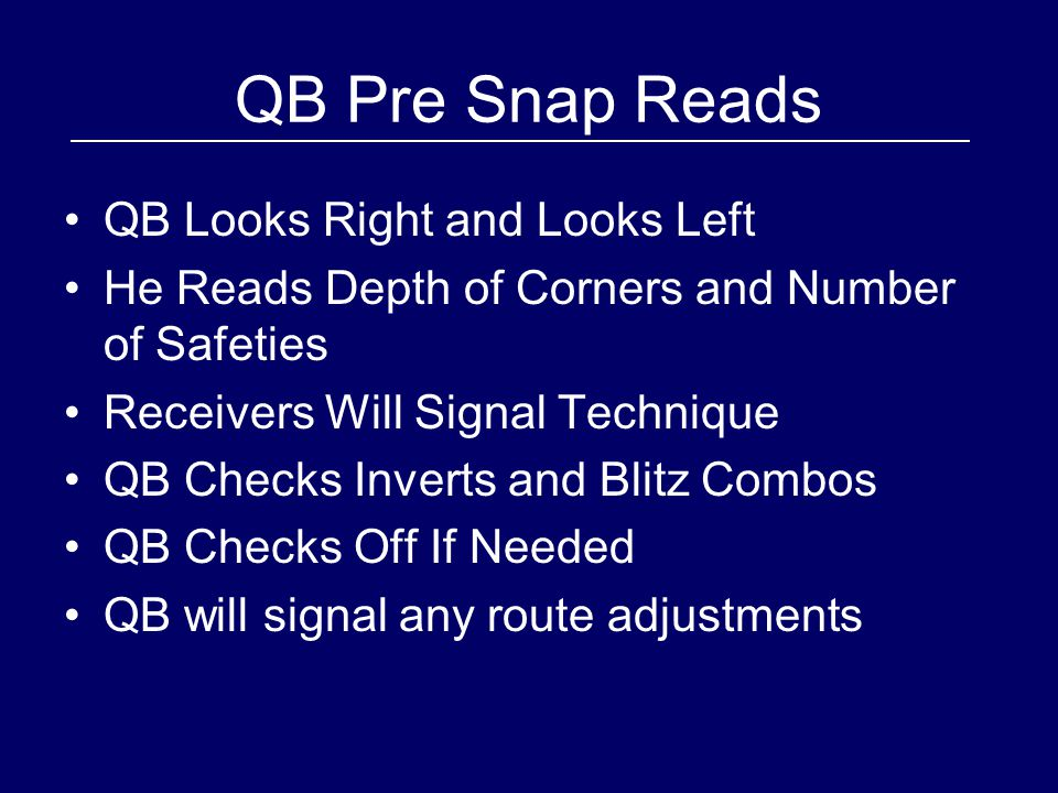 QB Pre Snap Reads QB Looks Right and Looks Left