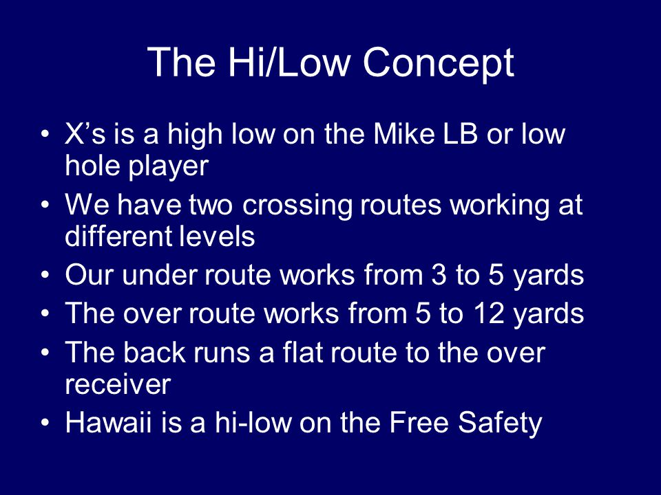The Hi/Low Concept X's is a high low on the Mike LB or low hole player