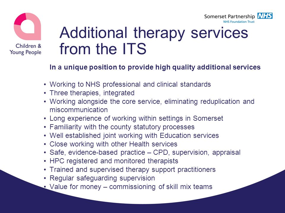 Additional therapy services from the ITS