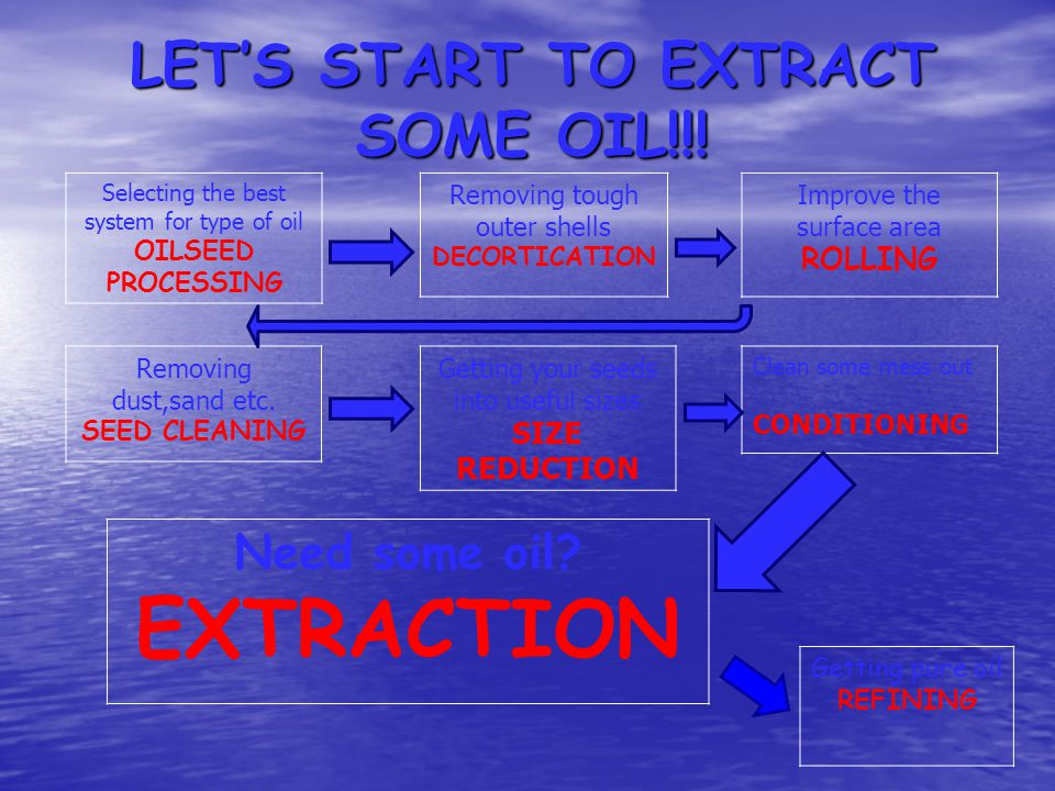 LET'S START TO EXTRACT SOME OIL!!!