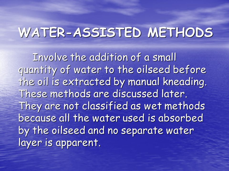 WATER-ASSISTED METHODS