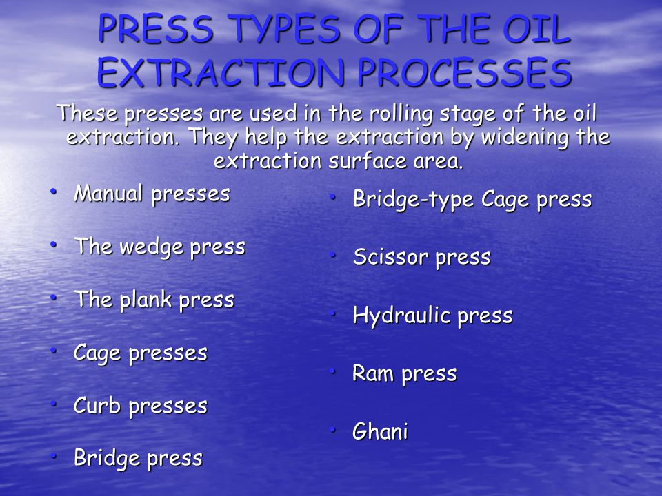PRESS TYPES OF THE OIL EXTRACTION PROCESSES