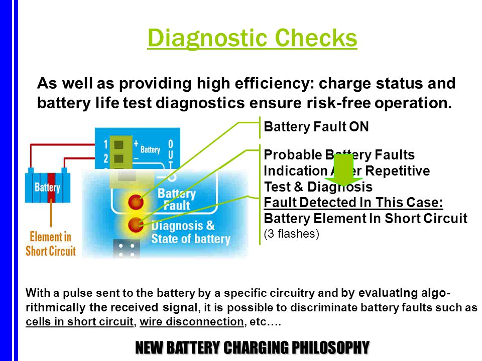 Diagnostic Checks As well as providing high efficiency: charge status and. battery life test diagnostics ensure risk-free operation.