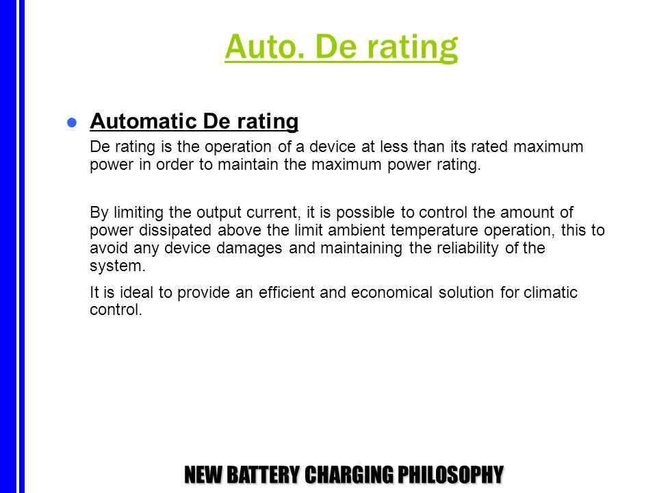 Auto. De rating Automatic De rating