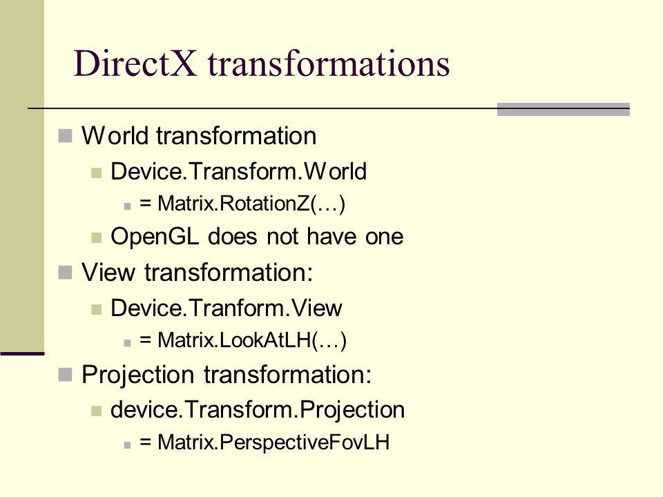 DirectX transformations