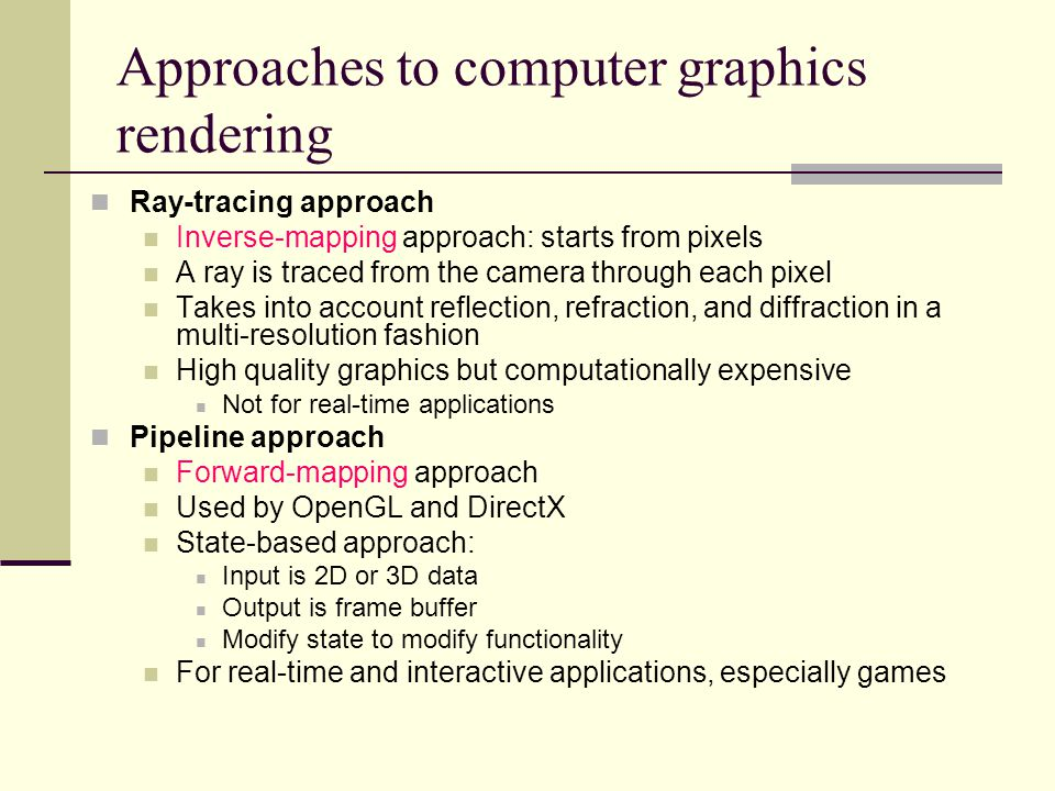 Approaches to computer graphics rendering