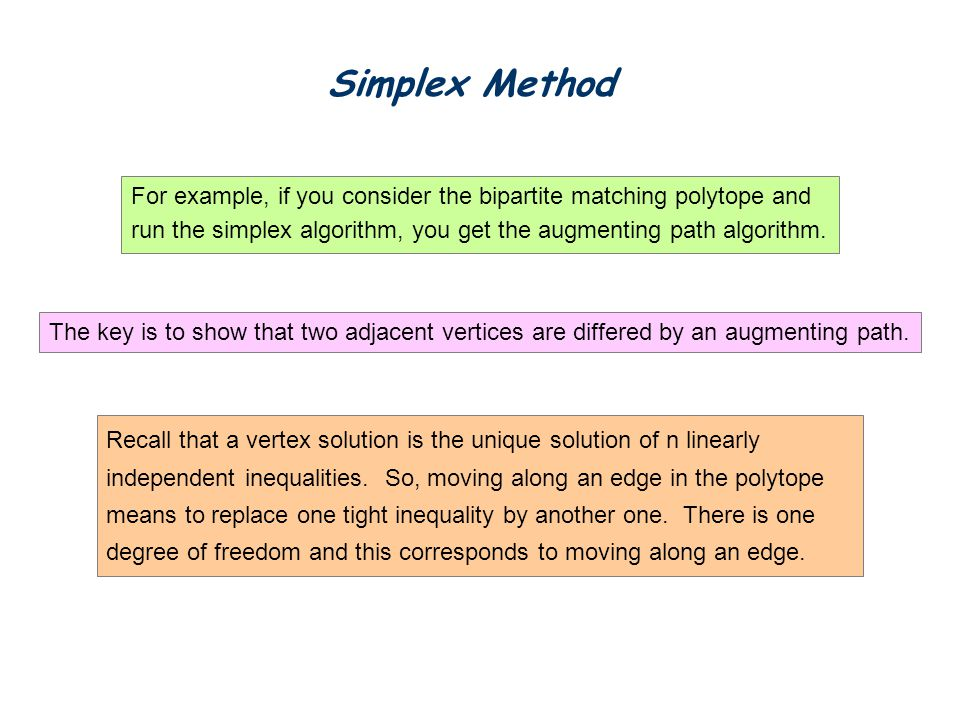 Simplex Method For example, if you consider the bipartite matching polytope and. run the simplex algorithm, you get the augmenting path algorithm.
