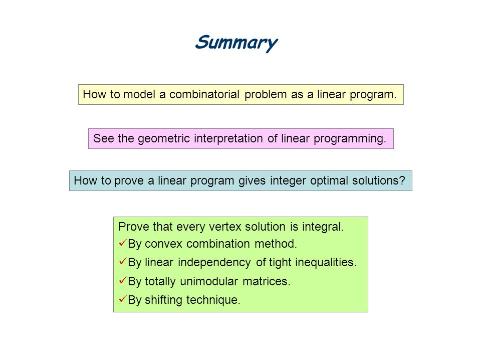 Summary How to model a combinatorial problem as a linear program.
