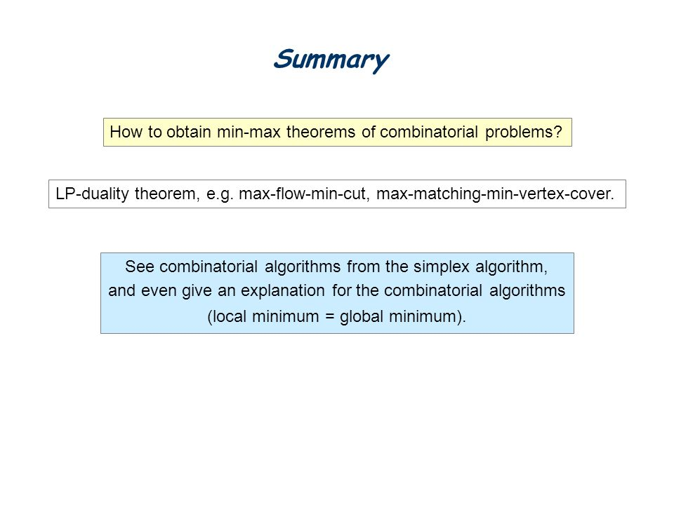 Summary How to obtain min-max theorems of combinatorial problems