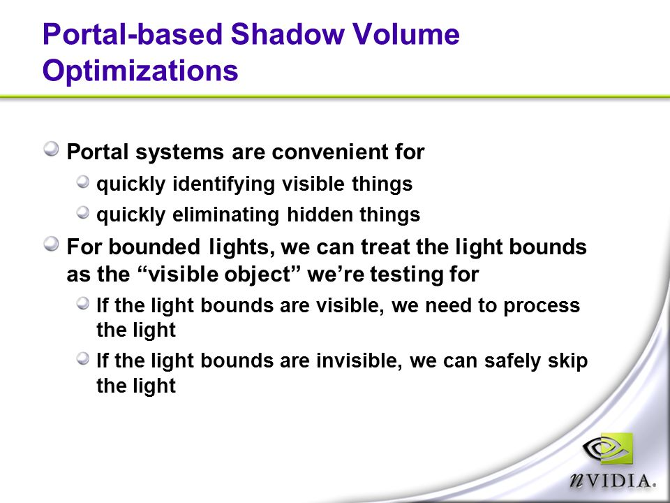 Portal-based Shadow Volume Optimizations