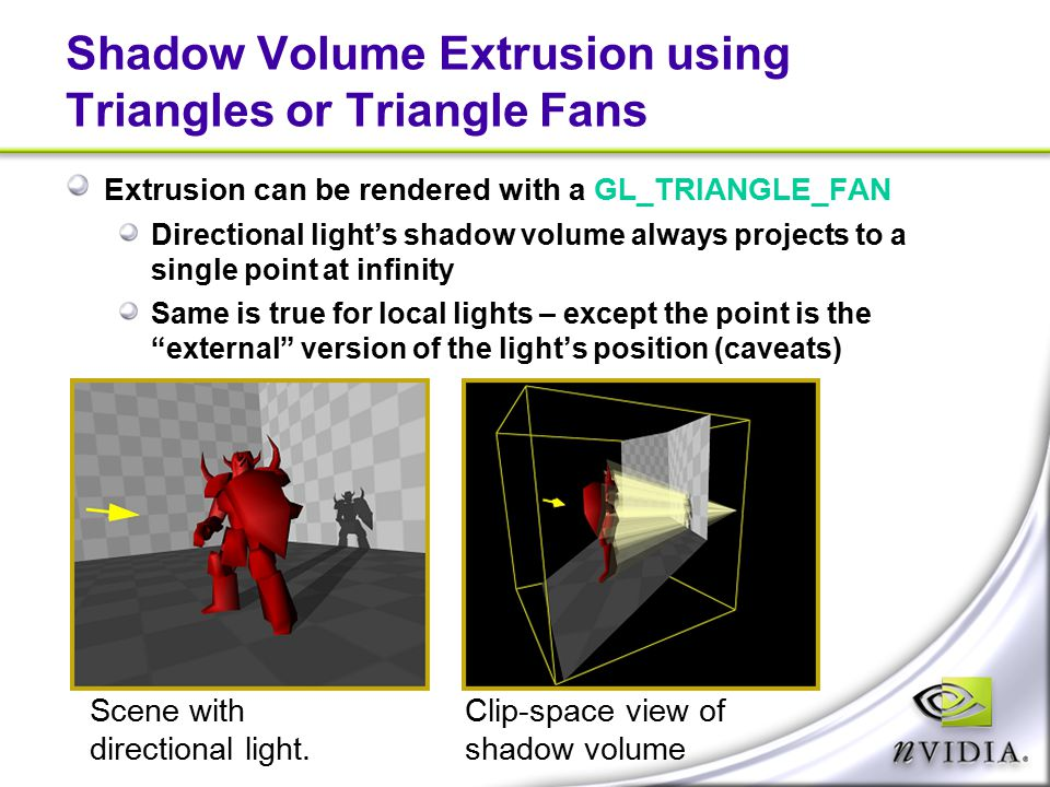 Shadow Volume Extrusion using Triangles or Triangle Fans