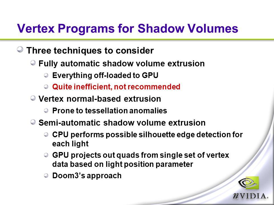 Vertex Programs for Shadow Volumes
