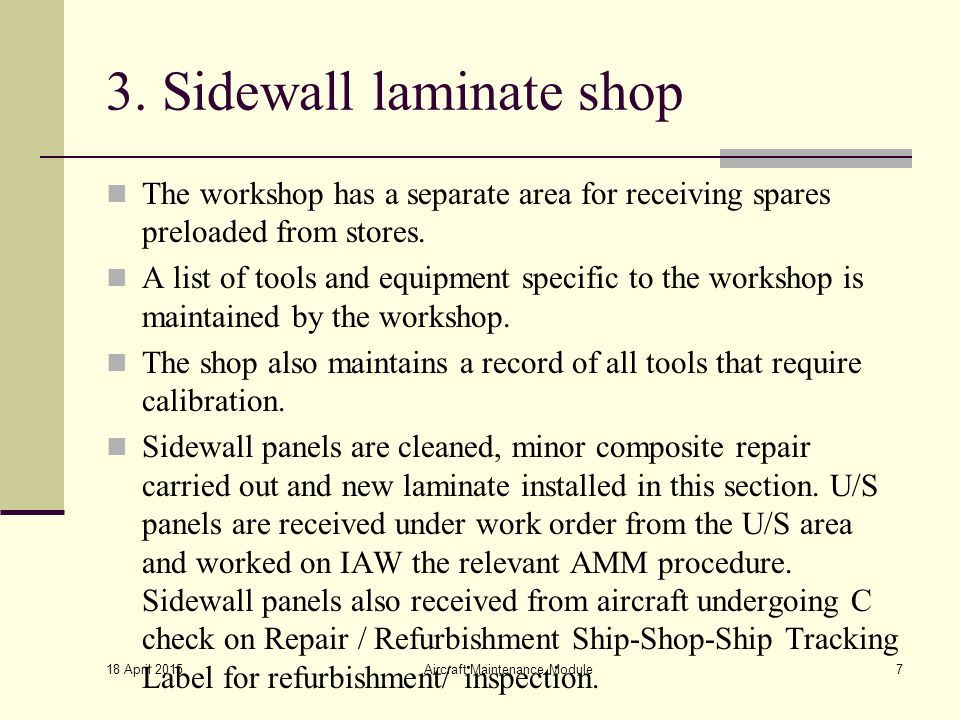 3. Sidewall laminate shop