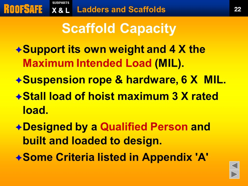 Scaffold Capacity SUBPARTS. Ladders and Scaffolds. 22. X & L. Support its own weight and 4 X the Maximum Intended Load (MIL).