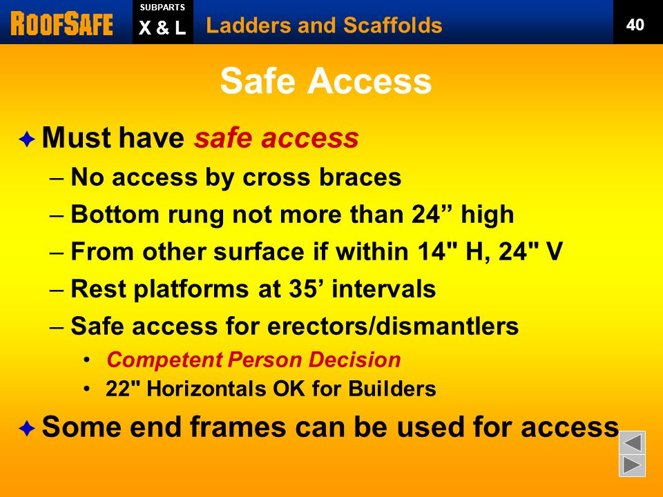 Safe Access Must have safe access