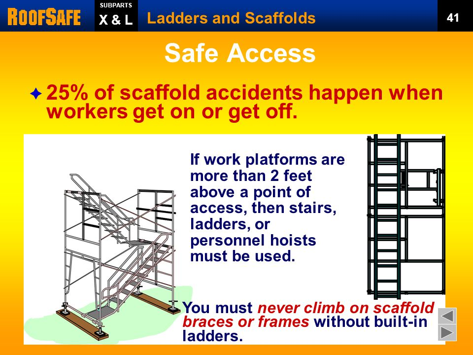 SUBPARTS Ladders and Scaffolds. 41. X & L. Safe Access. 25% of scaffold accidents happen when workers get on or get off.