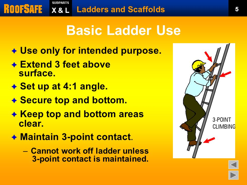 Basic Ladder Use Use only for intended purpose. Extend 3 feet above