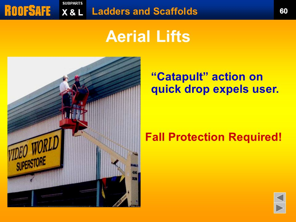 Aerial Lifts Catapult action on quick drop expels user.