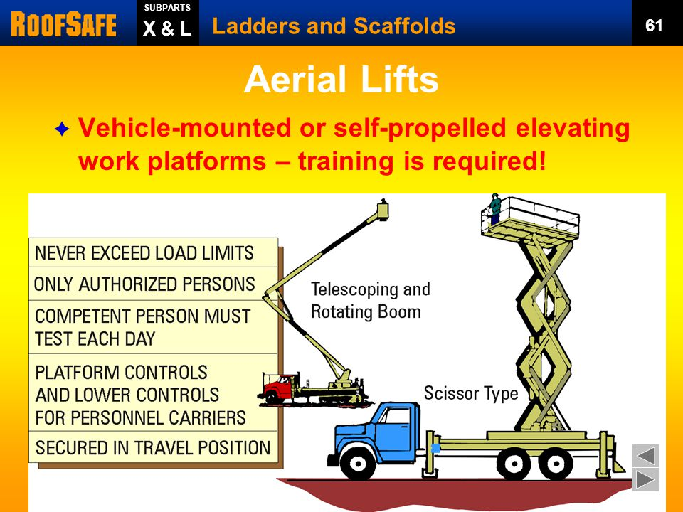SUBPARTS Ladders and Scaffolds. 61. X & L. Aerial Lifts. Vehicle-mounted or self-propelled elevating work platforms – training is required!