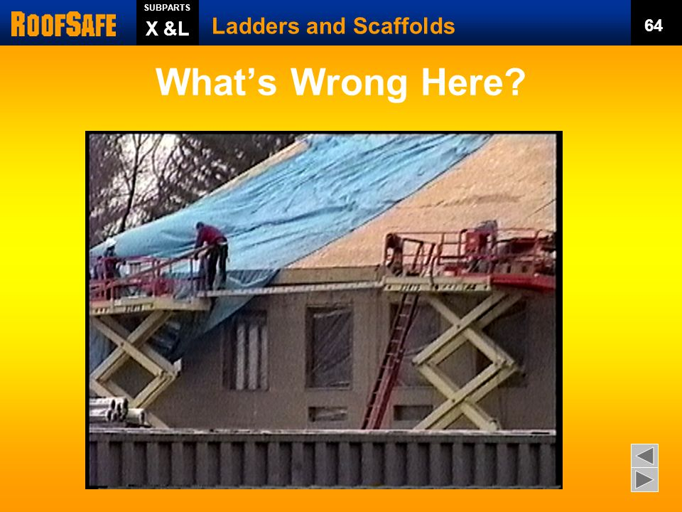 What's Wrong Here Ladders and Scaffolds X &L 64 Trainer s Notes: