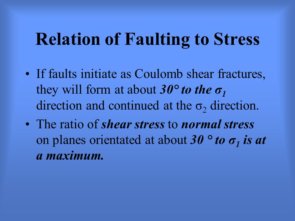 Relation of Faulting to Stress