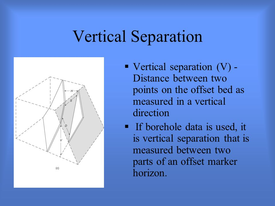 Vertical Separation Vertical separation (V) - Distance between two points on the offset bed as measured in a vertical direction.