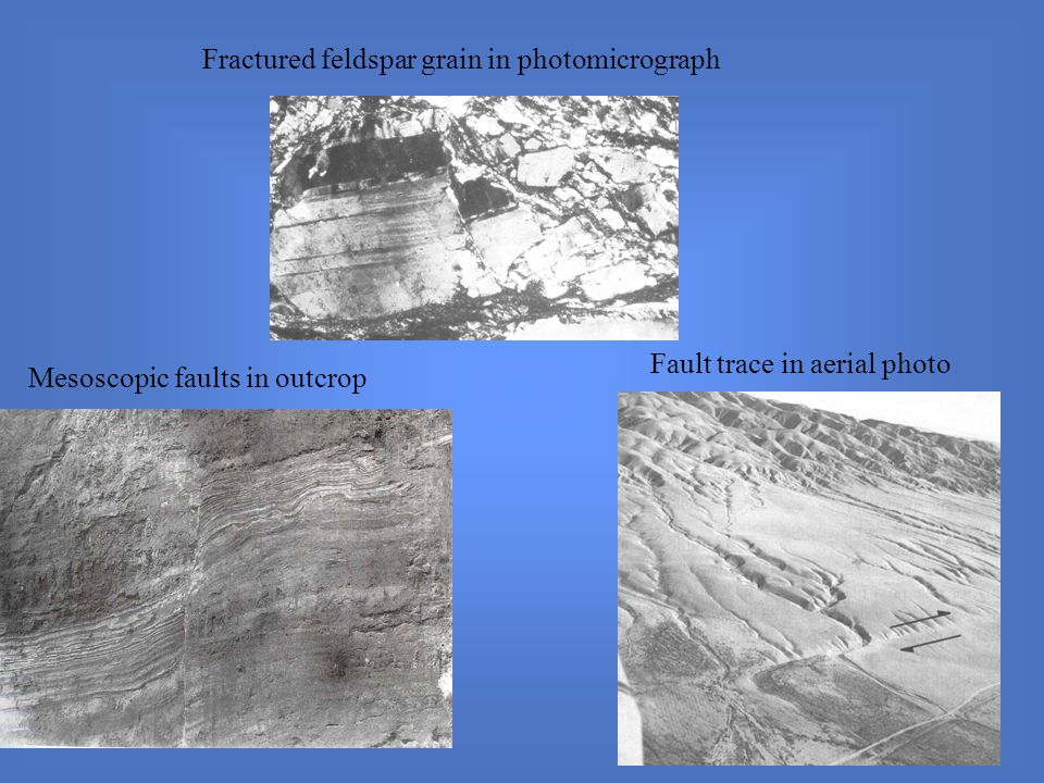 Fractured feldspar grain in photomicrograph