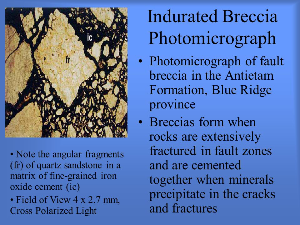 Indurated Breccia Photomicrograph