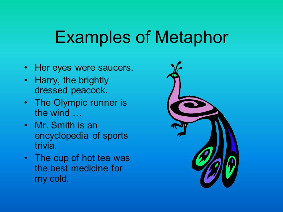 Examples of Metaphor Her eyes were saucers.