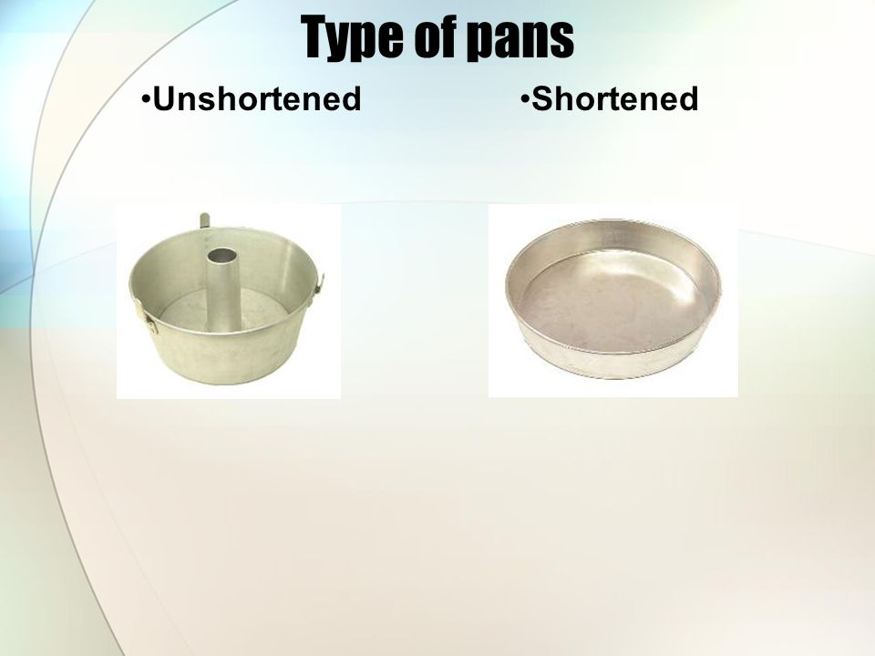 Type of pans Unshortened Shortened
