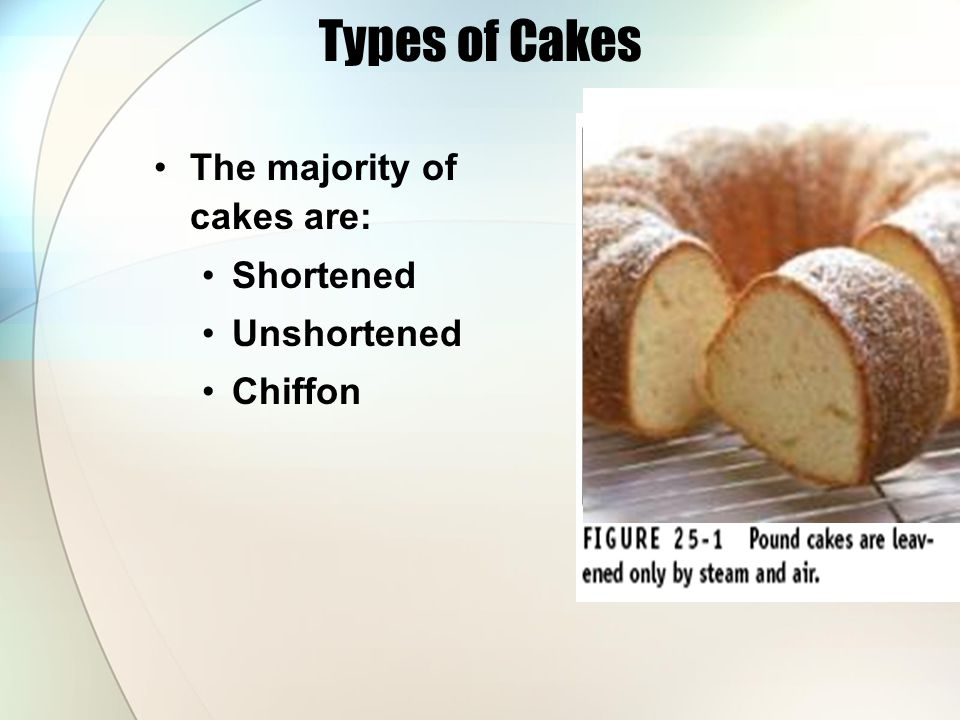Types of Cakes The majority of cakes are: Shortened Unshortened