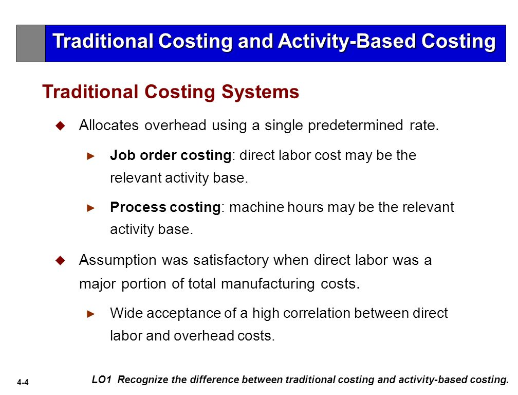 an overview of activity based costing and management as a traditional costing method Activity-based costing an overview of activity-based costing activity-based costing is a two-stage product costing method designed to apply cost to activities and then to products based on the resources of an activity that a product uses.