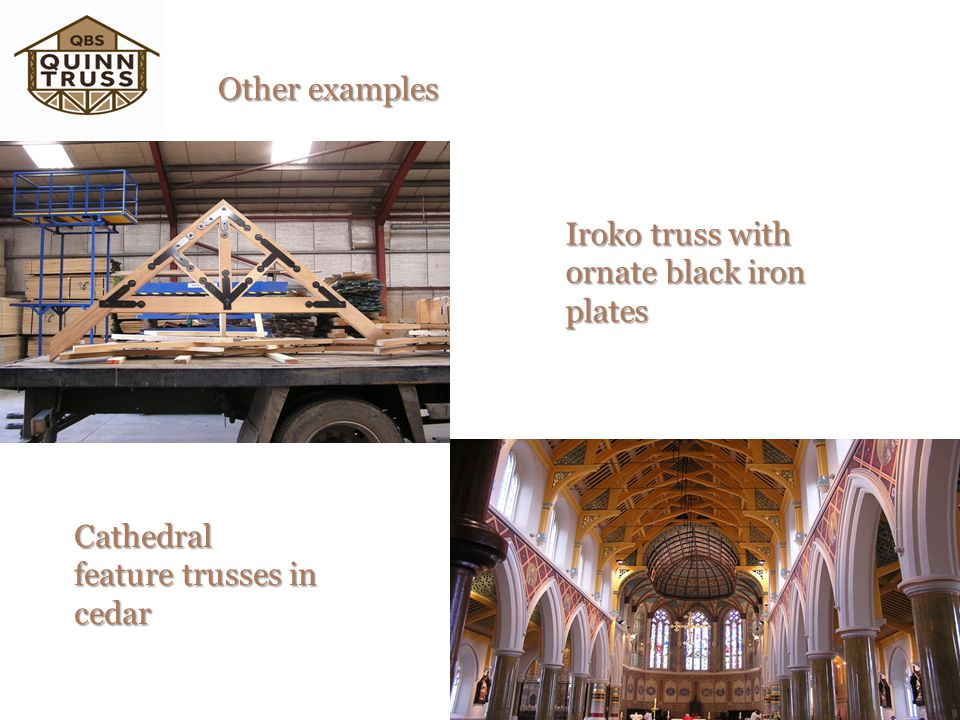 Other examples Iroko truss with ornate black iron plates Cathedral feature trusses in cedar