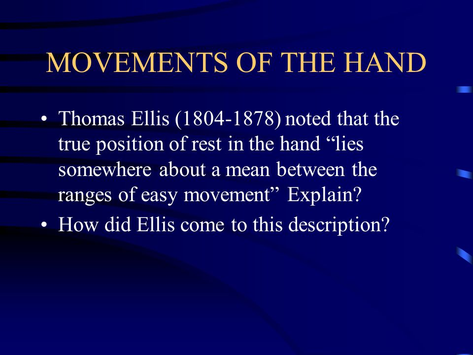 MOVEMENTS OF THE HAND