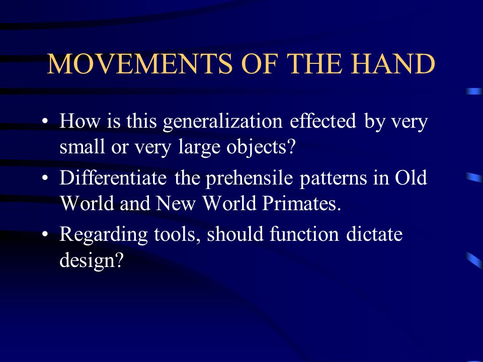 MOVEMENTS OF THE HAND How is this generalization effected by very small or very large objects