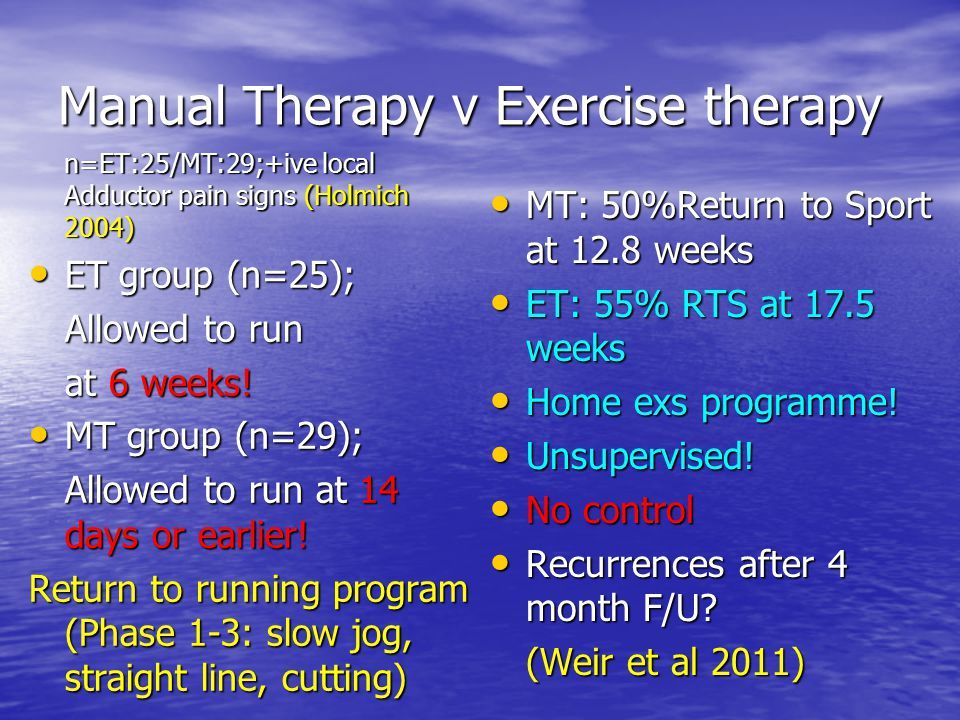 Manual Therapy v Exercise therapy
