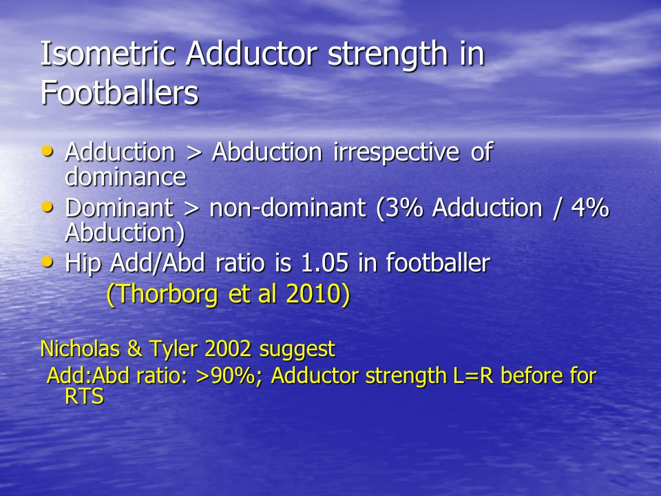 Isometric Adductor strength in Footballers