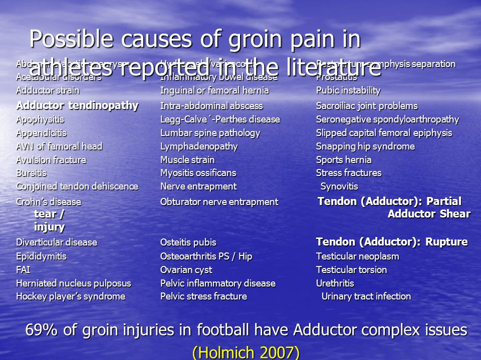 Possible causes of groin pain in athletes reported in the literature