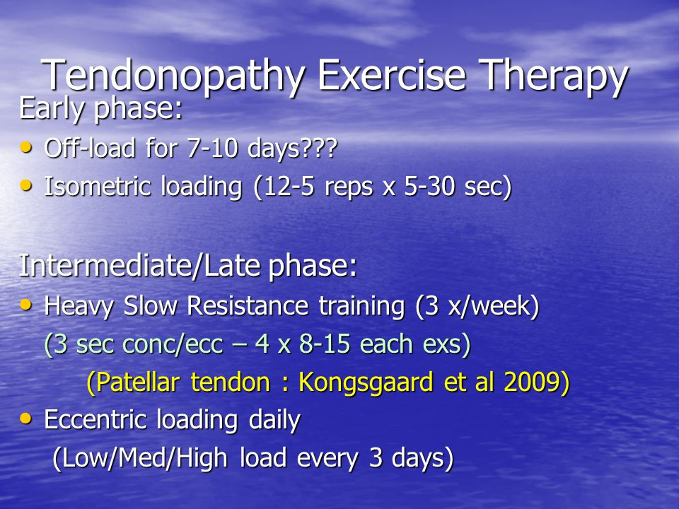 Tendonopathy Exercise Therapy