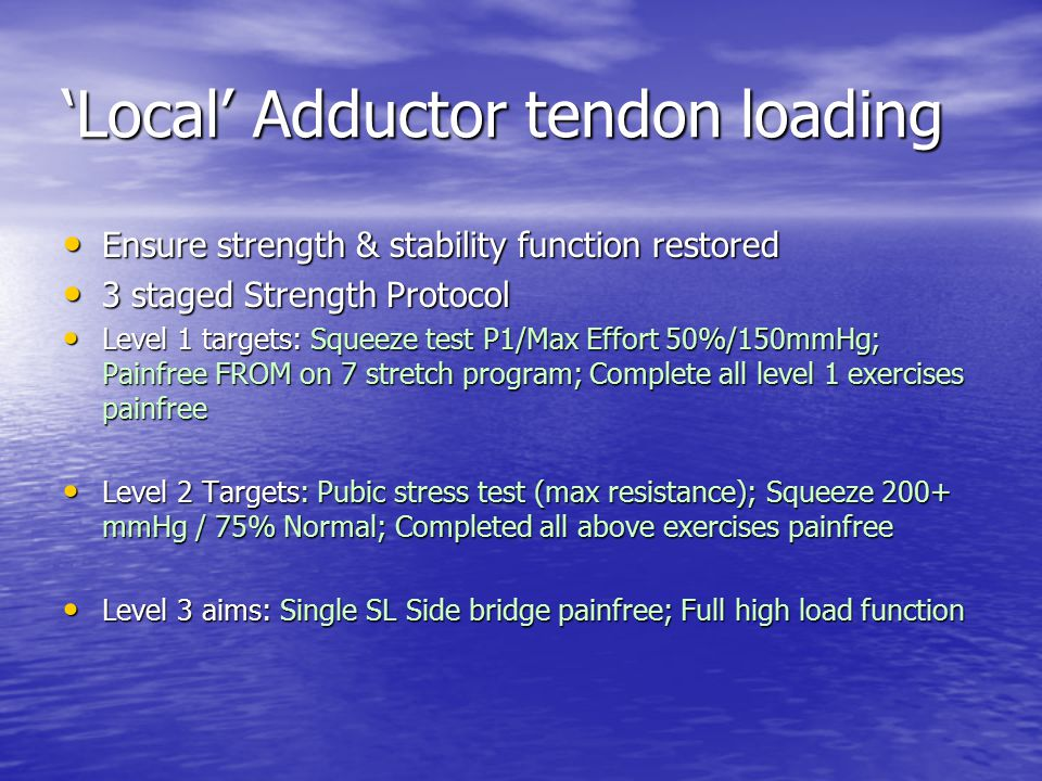 'Local' Adductor tendon loading