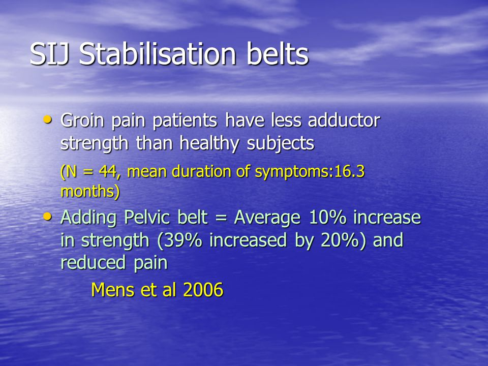 SIJ Stabilisation belts