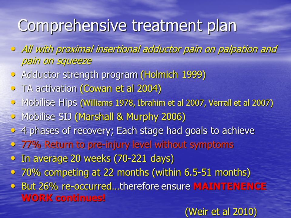 Comprehensive treatment plan