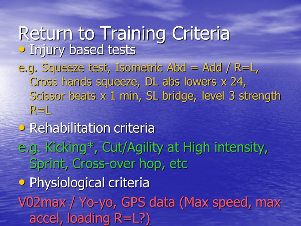 Return to Training Criteria