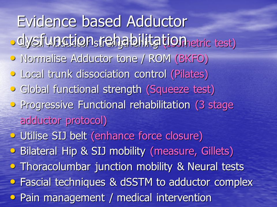 Evidence based Adductor dysfunction rehabilitation