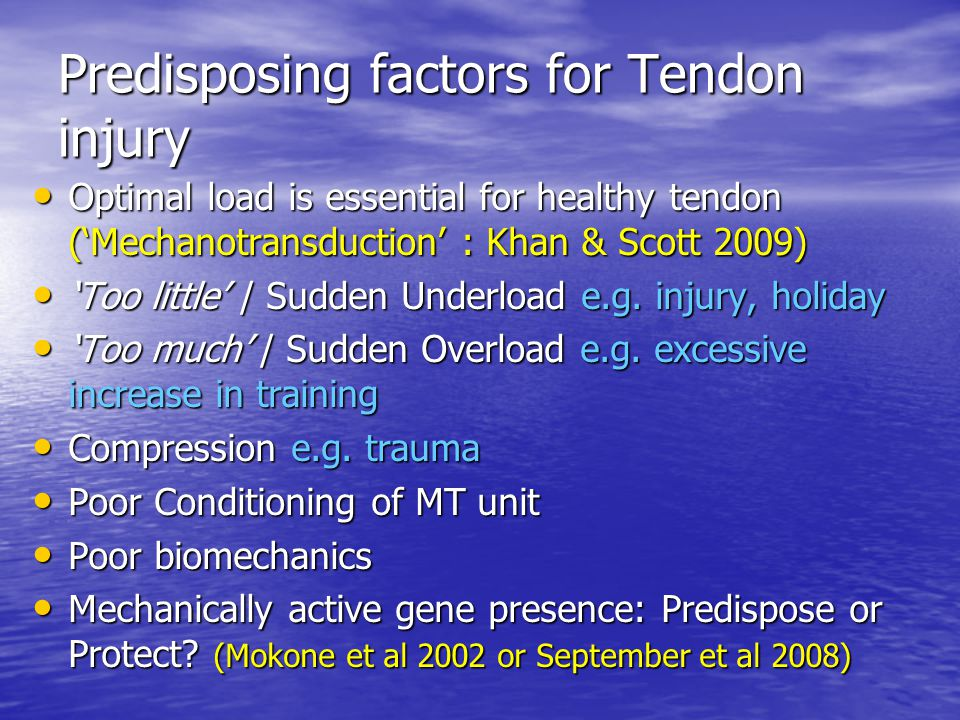 Predisposing factors for Tendon injury