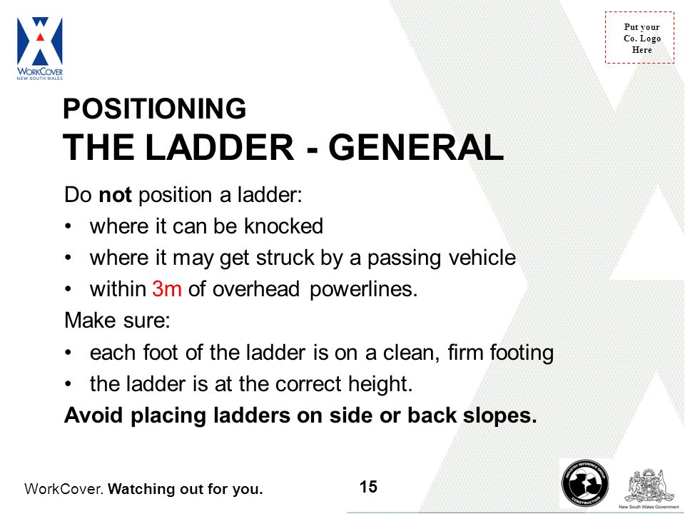 POSITIONING THE LADDER - GENERAL