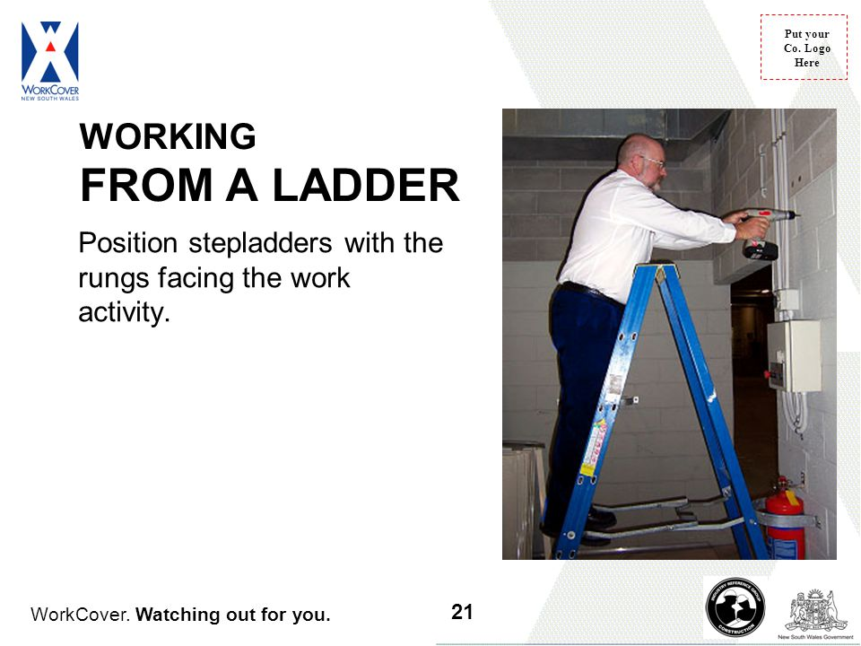 WORKING FROM A LADDER Position stepladders with the rungs facing the work activity. Slide 19 Working from a ladder - face the ladder when working.