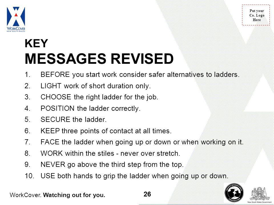 KEY MESSAGES REVISED BEFORE you start work consider safer alternatives to ladders. LIGHT work of short duration only.