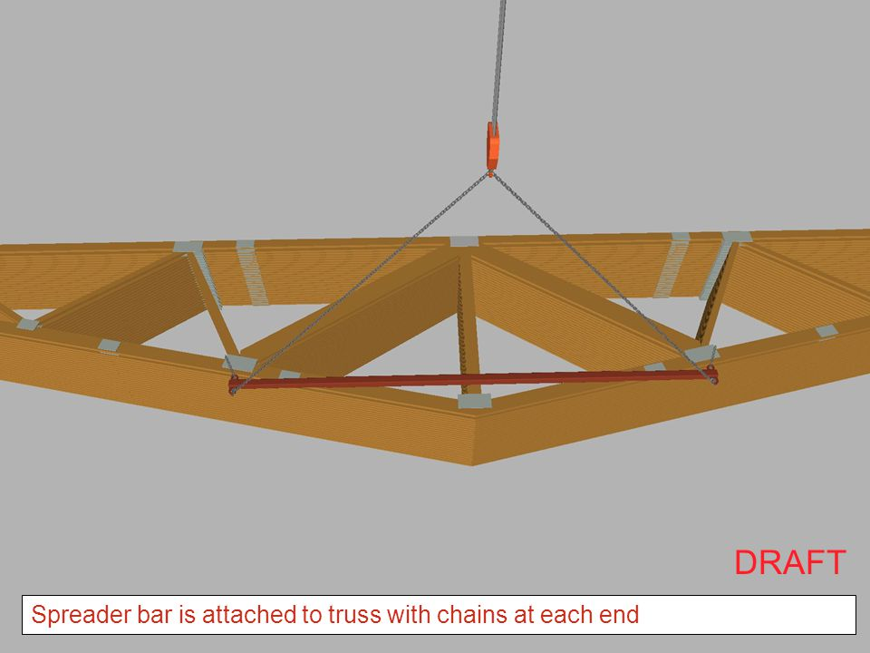 DRAFT Spreader bar is attached to truss with chains at each end